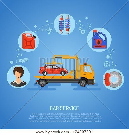 Car Service Concept for Poster, Web Site, Advertising with Flat Icons like Support, Manipulator, Oil.