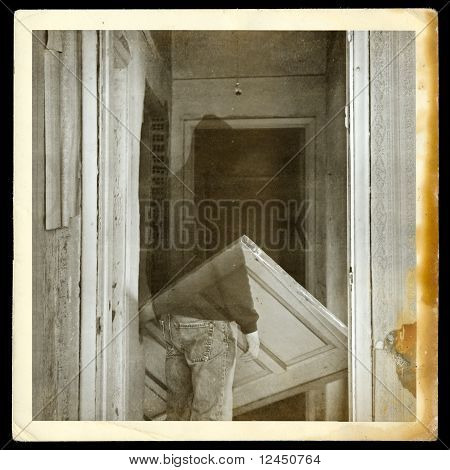Vintage Photo Of Ghost In Haunted Hallway