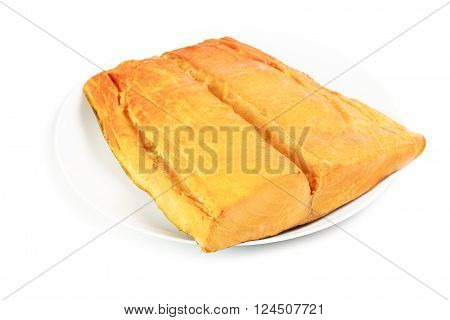 Smoked butterfish fillet on plate isolated on a white background
