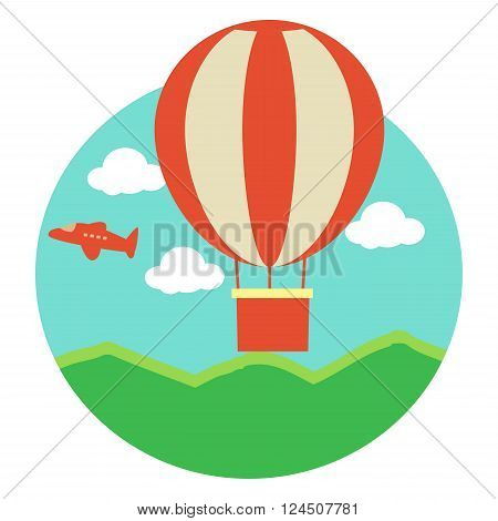 Vector Illustration of Hot Air Balloon with Jet