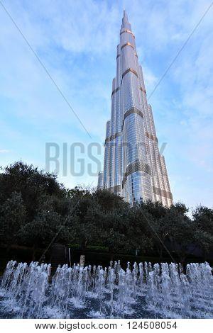 Dubai, United Arab Emirates - April 4, 2016: Burj Khalifa, the tallest man made Building in the world, photo taken in the Dubai downtown area and Burj Khalifa Garden