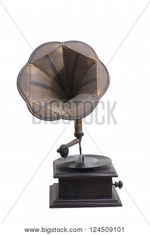 Very Antique wooden Gramophone in white background