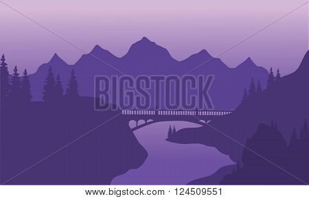 View bridge and mountain silhouette with purple background