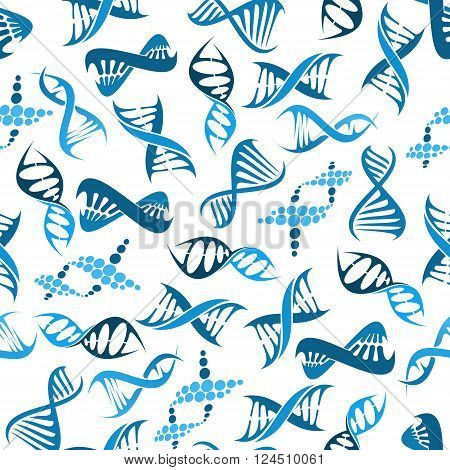 Seamless DNA elements pattern with blue twisted helices over white background. Medicine, genetics and science research themes