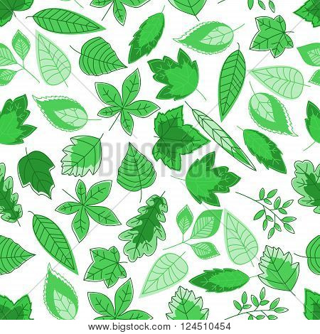 Spring foliage background with seamless pattern of green leaves of oak and maple, chestnut, birch and willow trees. Wallpaper, nature or fabric ornament themes design