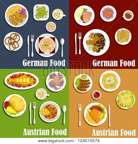 Traditional austrian and german cuisine with grilled sausages and fried potatoes, red cabbage salads, baked fish and meat, thick soups and spaetzle noodles, egg souffle, pretzels and walnut cakes