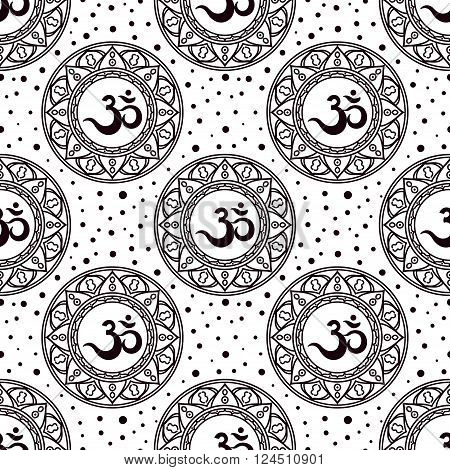 Om symbol seamless pattern. Vintage elements of black on a white background. Decal coloring book for adults tattoo. Buddhist Indian motifs yoga meditation spirituality.