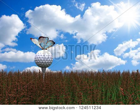 3D render butterfly sitting on a Golf Ball on the green grass