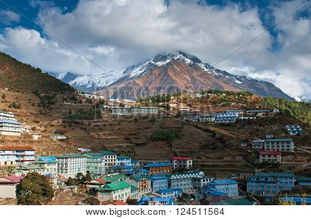 Namche Bazaar - big village in Himalayas on the way to Everest base camp in Sagarmatha National Park Nepal