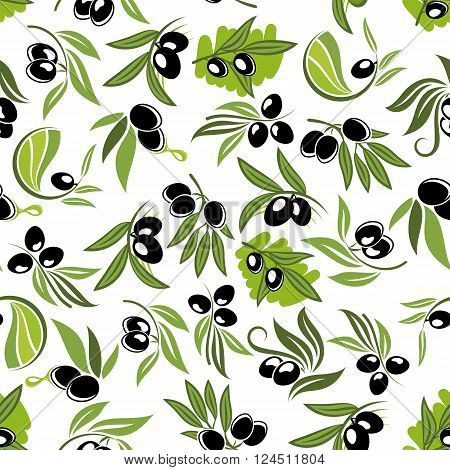 Olive branches seamless pattern with black fruits, green leaves and oil drops on white background. Healthy vegetarian food pattern and kitchen interior design themes