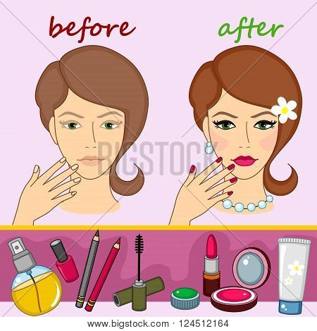 Cosmetics and face before and after the make up