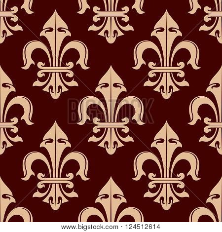 Pale brown fleur-de-lis seamless pattern with stylized floral elements of heraldic lilies over dark brown background. Heraldic bakground, vintage interior or wallpaper theme