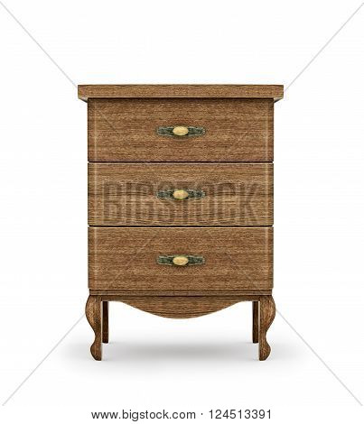 Bedside table made of wood isolated on a white background 3d illustration.