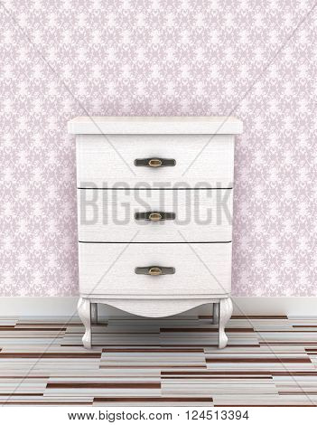 White wooden nightstand. Background classic. 3d illustration.