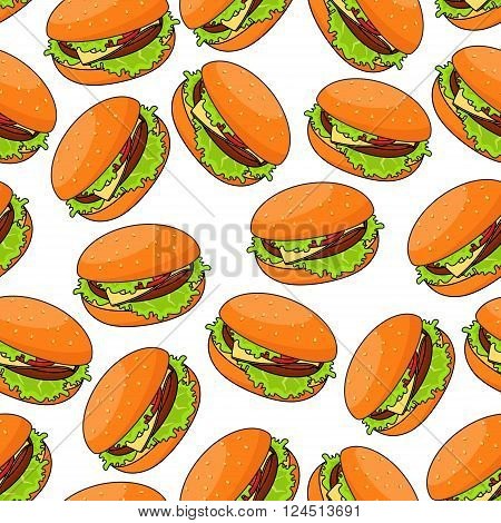 Seamless pattern of cheeseburgers served with fresh crunchy lettuce and juicy beef patty, swiss cheese and sliced tomato on wheat bun randomly scattered over white background. Fast food or kitchen interior themes design