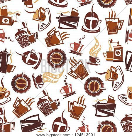 Brown coffee seamless pattern of cups of fresh brewed coffee, retro mills and pots, adorned by coffee beans. Use in coffee shop or cafe menu design or for background design