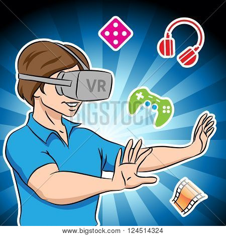 Vector Illustration of a Guy Wearing a Virtual Reality Headset