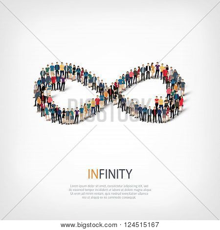 Isometric set of styles, infinity  , web infographics concept  illustration of a crowded square, flat 3d. Crowd point group forming a predetermined shape. Creative people. - Vector Illustration. Stock vector.