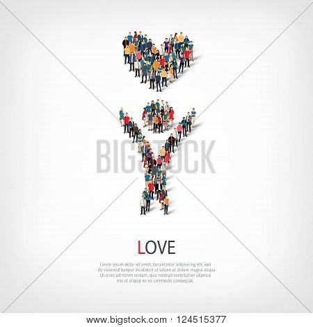 Isometric set of love , web infographics concept vector illustration of a crowded square, flat 3d. Crowd point group forming a predetermined shape. Creative people. - Vector Illustration. Stock vetor.