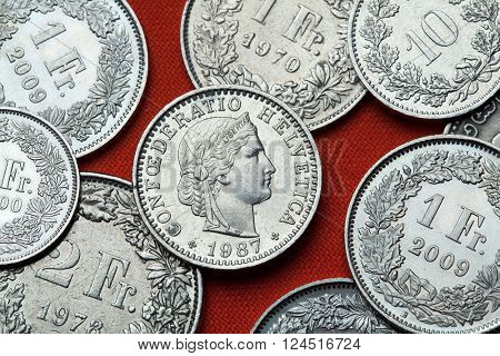 Coins of Switzerland. Libertas head depicted in the Swiss 20 rappen coin.