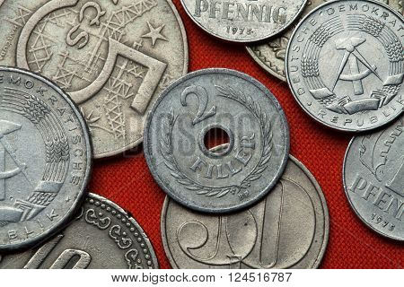 Coins of Communist Hungary. Hungarian two filler coin (1955) coined in the Hungarian People's Republic.
