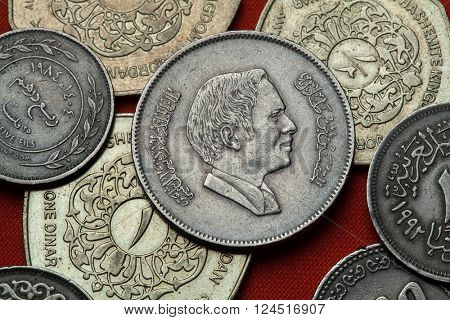 Coins of Jordan. King Hussein bin Talal of Jordan depicted in the Jordanian 100 fils coin.