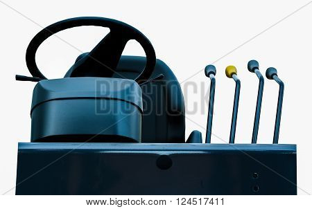 wheel steering and gear in front of the forklift isolated on white background.