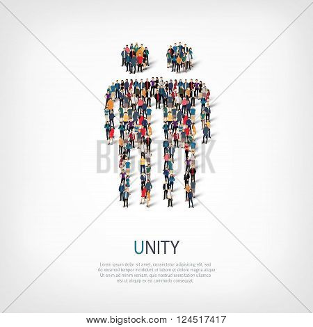 Isometric set of styles, unity , web infographics concept  illustration of a crowded square, flat 3d. Crowd point group forming a predetermined shape. Creative people. - Vector Illustration. Stock vector.