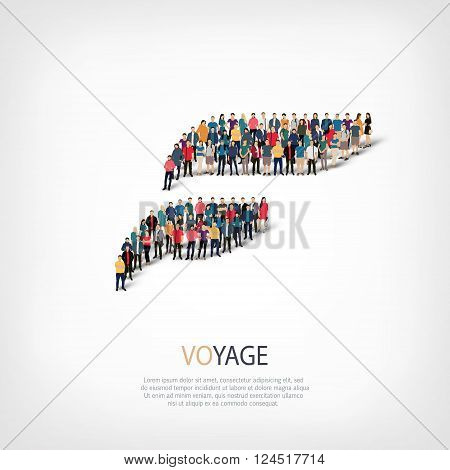 Isometric set of styles, voyage, web infographics concept  illustration of a crowded square, flat 3d. Crowd point group forming a predetermined shape. Creative people. - Vector Illustration. Stock vector.