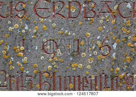 Year 1916 carved in stone covering with moss. The years of World War I.