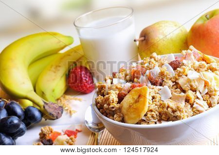 Bowl Of Cereals Top And Diagonal Composition In Kitchen