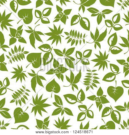 Green foliage seamless pattern of delicate leaves with stems of trees, bushes and herbs. For retro stylized wallpaper, nature background or scrapbook page themes design