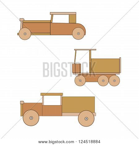 Wooden toy retro car. Toys for boys. Three cars with wheels.