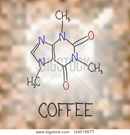 Coffee. The chemical formula of caffeine. Coloful vector illustration.