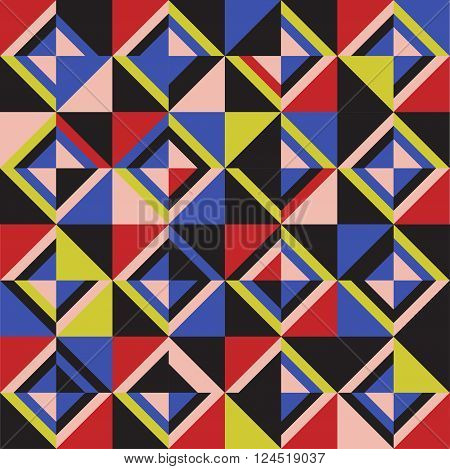 Colored triangles. Seamless pattern. Coloful vector illustration