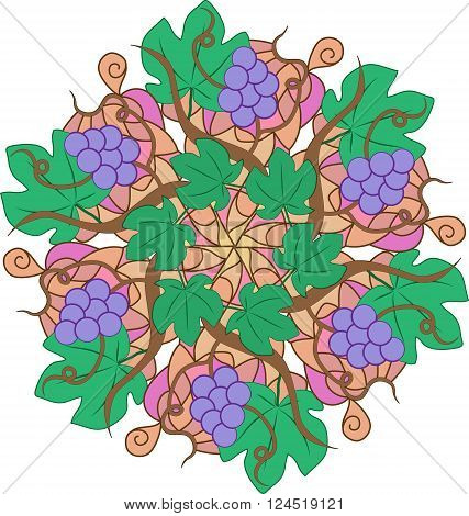 Abstract round grape pattern. Coloful vector illustration.