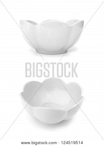 Empty white ceramic bowl flower shape on white background