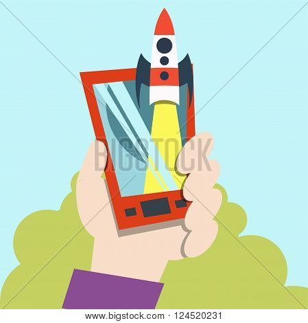 Launch icon. Rocket in space. vector. technology.