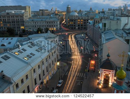 View from Church of St. Nicholas in Klennikah to evening Maroseyka street in Moscow