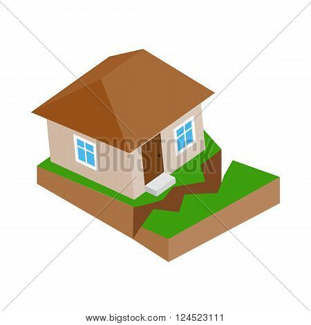 House with crack in the ground icon in isometric 3d style on a white background