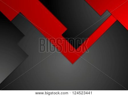 Black red geometric contrast tech background. Vector illustration corporate design
