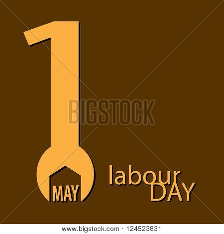 Labor Day 1st May wrench logo Poster, banner, brochure or flyer design with stylish text 1st May Happy Labor Day on vector background with yellow typography creative artwork