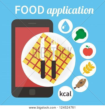 Calorie counter app. Mobile food app. Vector illustration