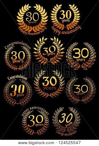 Anniversary golden wreaths with shining laurel branches, arranged into a circle frame with text 30 Years, congratulations and anniversary. Greeting card, event and invitation, celebration design