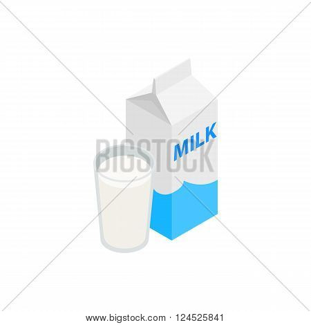 Milk icon in isometric 3d style isolated on white background. Carton with glass of milk