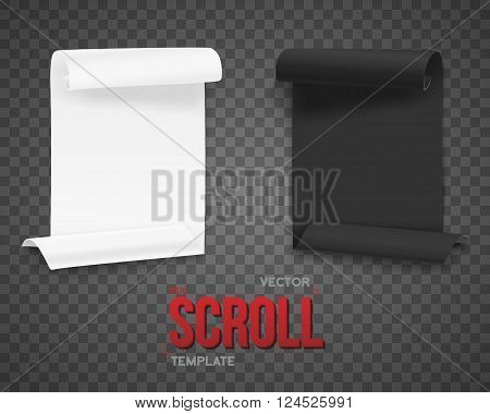 Illustration of Set of Folded Black and White Paper Sheets Template. Realistic Vector Rolled Page Document Mockup Set Isolated on Transparent PS Style Background