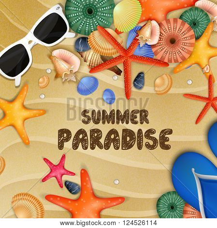 Illustration of Starfish, shells and Flip-flops on sand background