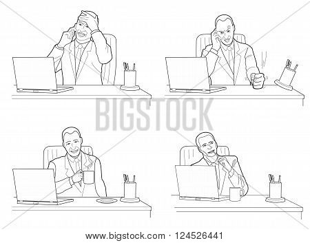 Different actions and emotions of men. Talking anger calm dreaming. Black vector illustration isolated on white background.