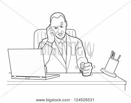 Cartoon business man angry with laptop computer stress fail. Pounding his fist on the table. Black vector illustration isolated on white background.