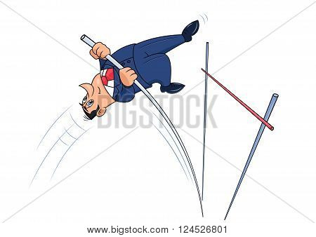 Illustration of the businessman doing successful pole vault